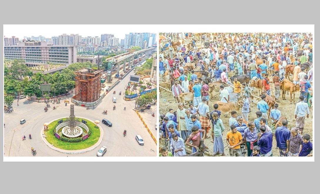 রাজধানীতে রাস্তা ফাঁকা জমজমাট বাজার
